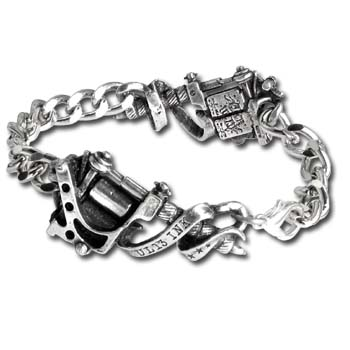 Alchemy Tattoo Gun Bracelet Solid, 3-dimensional, twin tattoo guns bracelet